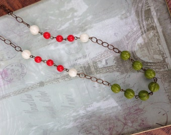 Fall inspired necklace with cream, green and bright coral glass beads