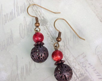 Fall-inspired dangle earrings with antiqued bronze filigree bead