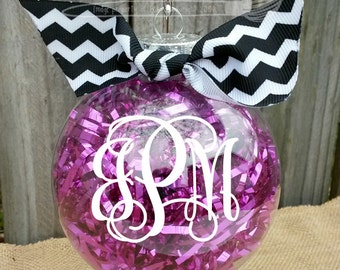 "Monogrammed Christmas Ornament 3"" - Tinsel Filling - Shatterproof Plastic - Perfect Gift"