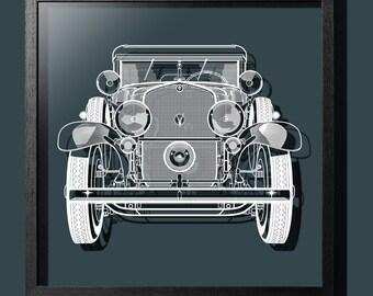 Paper-cut Antique Car 18 In. Framed, Original Size, Paper Art IDEAL GIFTS