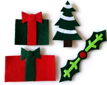 Large Christmas Iron On Patch Set of 4 - No Sew - Felt