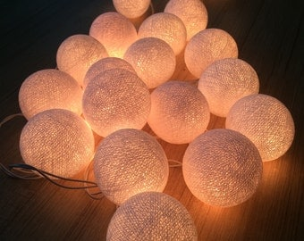 20 x White cotton ball string light for decor ,bedroom, wedding, party, garden,lamp,lantern