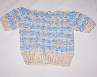 Vintage 1980's - Baby Sweater with Blue Stripes