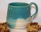Turquoise and White Mug