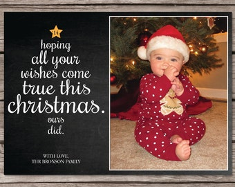 Typographic Christmas Tree Pregnancy Announcement Holiday