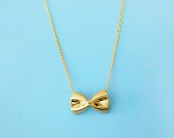 Cute, Pasta, Farfalle, Gold, Silver, Necklace, Pasta, Jewelry, Ribbon, Birthday, Friendship, Friends, Mom, Sister, Gift, Jewelry