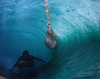 """Vintage Authentic,""""ABALONE SHELL""""Pendant Necklace, With 14Kt ,18 Inch Gold Filled Chain.Art To Wear.Abalone Art.Vintage Shell Jewelry. Nice."""