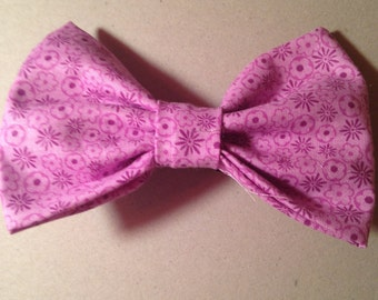 Purple Floral Hair Bow with Attached Barrette!