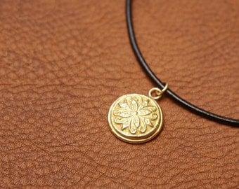 14K Solid Gold Pendant,14k Solid Gold Necklace,Solid Gold Flower Pendant,Coin Pendant Necklace,14k Gold Coin Necklace,14k Gold Coin Pendant