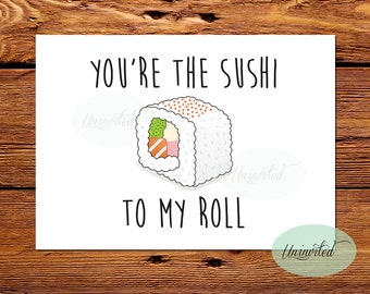 Sushi Valentine Card - Printable, Instant download, will you be mine, love, valentine, I love you card, sushi valentine, fun valentine