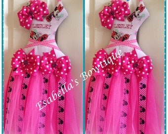 Pink minie tutu bow holder;tutu bow holder;minnie tutu bow holder;minie bow holder