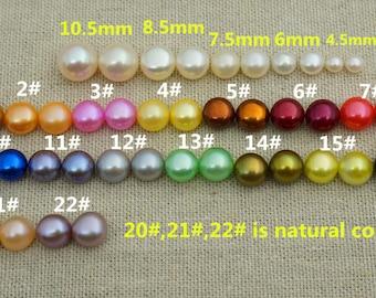 Multi Set of  pearl stud 6mm  Fresh Water pearl earrings,Multicolor pearl earrings,Sterling Silver,ivory Pearl studs,Wedding,girl earrings