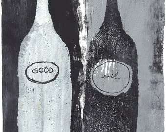"grey black bottles monoprint original print original art ""libel"""