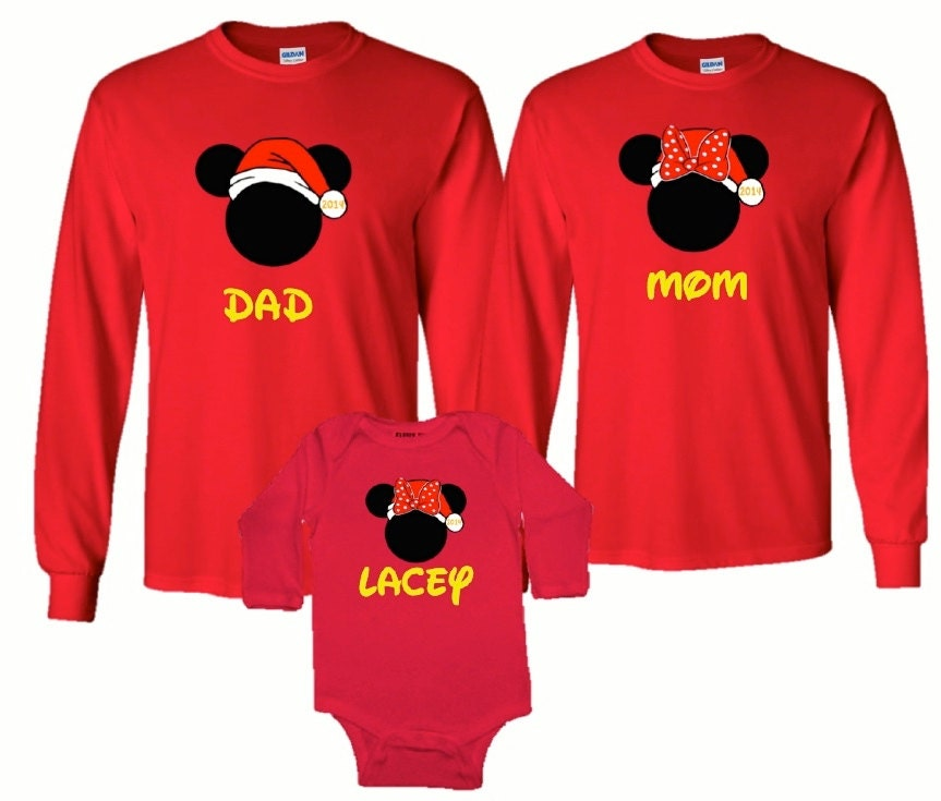 Mickey Mouse Minnie Mouse Christmas Santa Long Sleeve Vacation