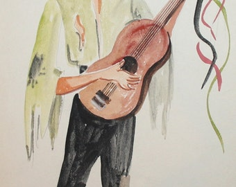 1974 WC painting Theatre costume design gipsy guitar player signed
