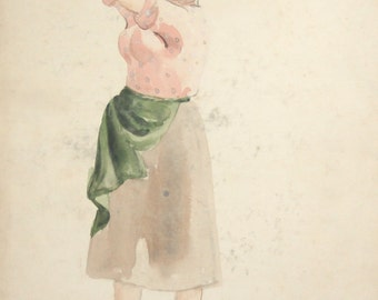 Vintage WC Painting Rural Woman Costume design signed