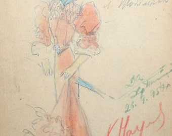 1957 woman theater costume watercolor drawing signed