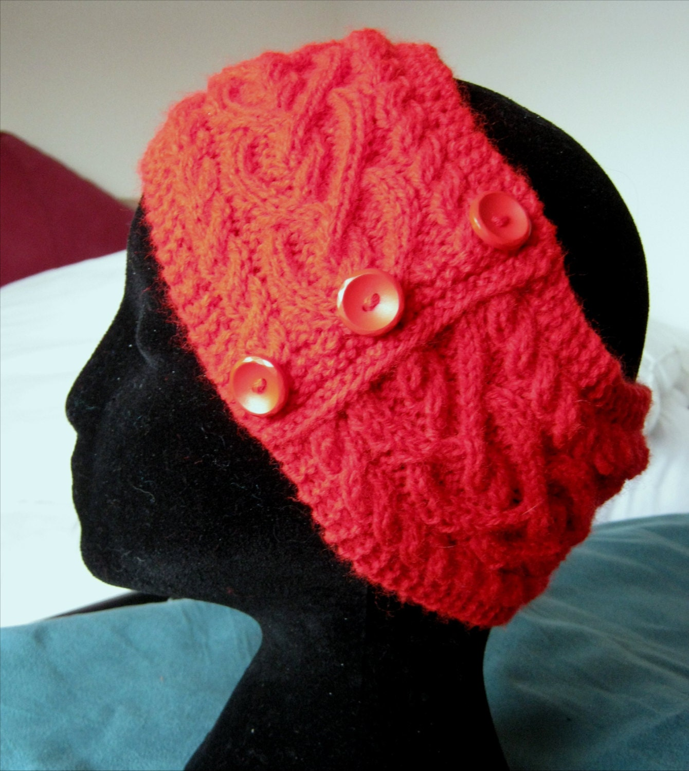 Hand Knitted Headbands Patterns : Hand knitted bright red Celtic heart pattern cable headband