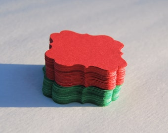 "50 Red/Green Christmas Tags Gift tags Favor Tags Paper Tags size 2"" x 2"""
