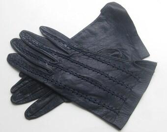 Vintage - dklbl. Leather gloves with perforation