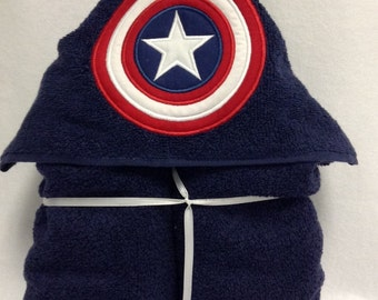 Captain America Hooded Towel/Captain America Towel/Superhero towel/hooded towel/lkids towel/kids bath towel/kids hooded towel/applique towel