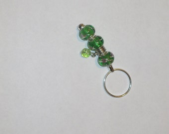 Key ring-Sparkly green with dangly charm