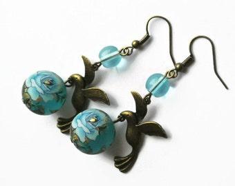 Tensha earrings, Decorated Japanese Tensha With Glass Beads, Blue Flower Earrings, Blue Rose Earrings, Vintage Inspired Earrings