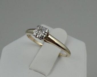 Vintage Low-Profile Diamond 14K Gold Promise Ring #YGLPDR5-GR1