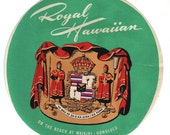 Genuine Vintage 1950s Original Unused Luggage Label: Royal Hawaiian Hotel, Waikiki, Honolulu -- Free Shipping