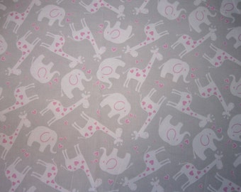 Baby Crib Sheet  or Toddler Bed Sheet with Elephants and Giraffes