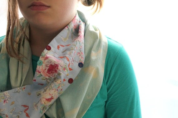 Boho Briar Rose Infinity Scarf for Tweens/Hand Painted Scarf/Hand Dyed Scarf/Girls Summer Scarf/Flower Scarf/Teal Scarf