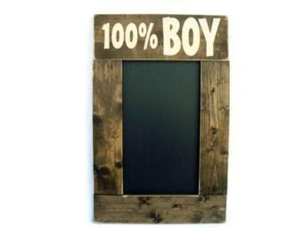 Rustic Wood Framed Playroom or Kid Bedroom Chalkboard Wall Decor - 100% Boy (#1152-CB)