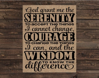 Burlap Print Christian Fabric Inspirational Scripture Art - Serenity Prayer (#1308B)