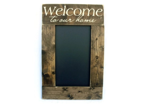 Rustic Wood Framed Chalkboard Wall Decor Welcome To Our Home
