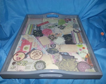 Shabby chic collage tray!