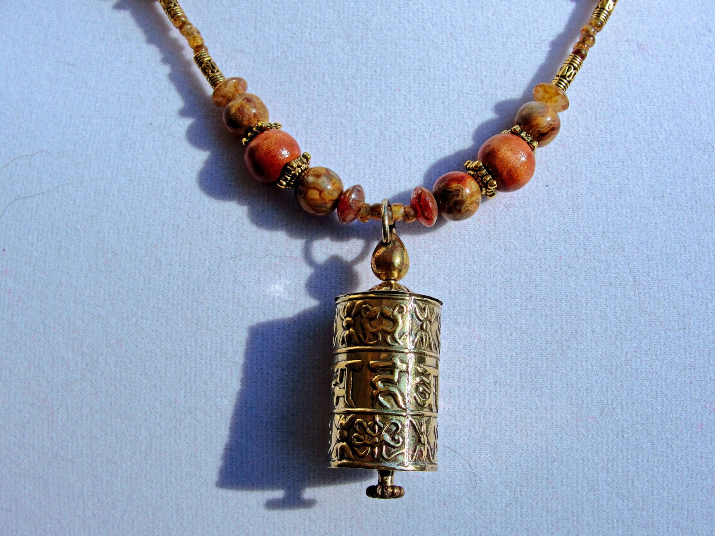 tibetan prayer wheel necklace