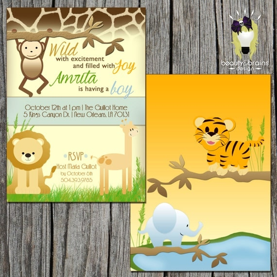 zoo safari themed baby shower birthday invitation printable digital