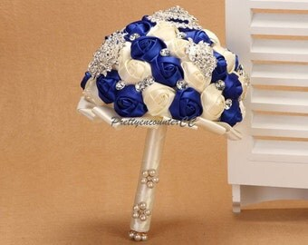 Delicate Royal Blue Ivory Roses Wedding Bouquet with Rhinestones Crystals Jewels Satin Ribbon Pearls Bridal Bouquet Handmade Wedding Flowers