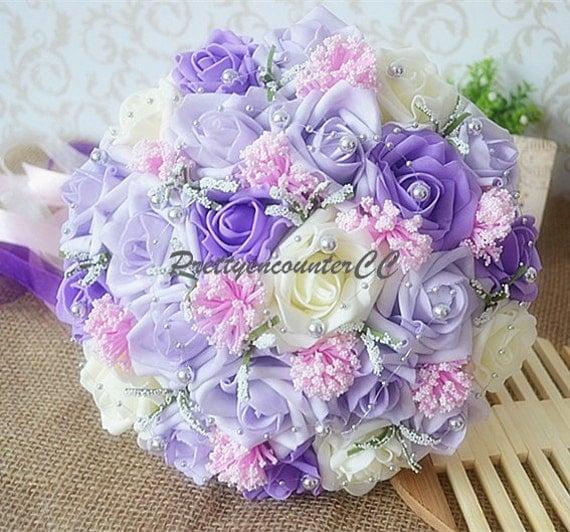 bouquet de mariage lavande la main fleurs roses rose ivoire. Black Bedroom Furniture Sets. Home Design Ideas