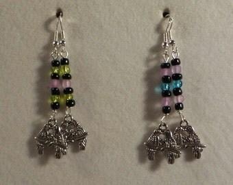 Handbeaded Lovebird Earrings