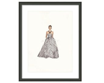 Glamorous Stripes Illustration Print
