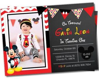 Mickey mouse Invitation, Mickey mouse invite, Mickey invitation, Mickey Invite, Photo invitation, Birthday invitation, Mickey Mouse (#2)
