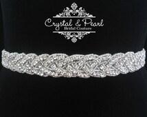 SALE - Crystal Vintage Wedding Bride Sash Belt Glamorous Great Gatsby Vintage Glam Rhinestone Bridesmaid - Marilyn Monroe Sash