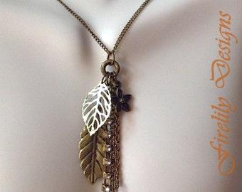 Long Tassel Sweater Necklace - Leaf Necklace - Fall Jewelry - Boho Antique Bronze - Leaf Charm Tassel Pendant Necklace - Tassel Necklace