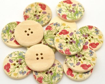Wholesale 30 Flower 4 Holes Wood Buttons Scrapbooking 30mm