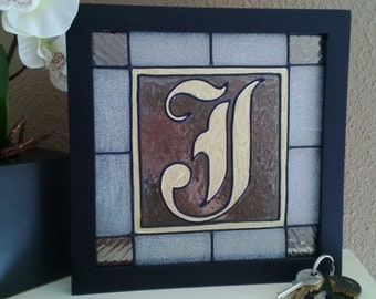 "Monogram--Gold--Hand Painted--Initial--Logo--8""x8""--Stained Glass Painting--Letter--Wood Frame--Wall Decor--Gift--House Warming--Wedding"