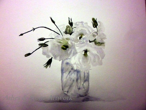 weisse lisianthus trio wei e blumen in einer vase 10 x 12. Black Bedroom Furniture Sets. Home Design Ideas