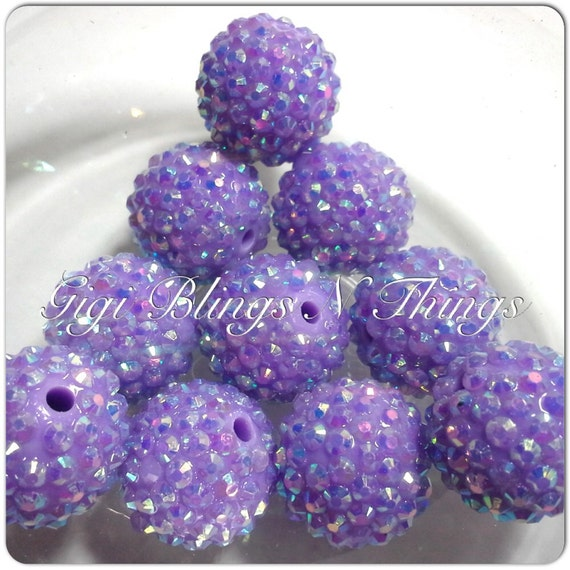 20mm Bead Beads: 20mm Light Purple Rhinestone Beads 10ct Rhinestones Beads