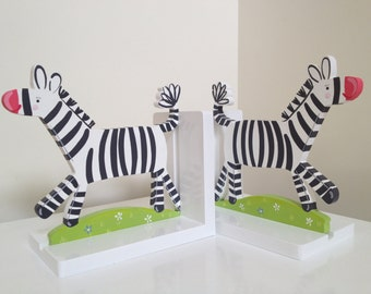 Zebra Bookends - Bookends, Childrens Bookends, Boys Bookends, Girls Bookends, Wooden Bookends, Nursery Bookends, Kids Bookends, Library