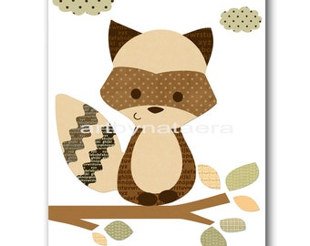 Raccoon Nursery Digital Art Print Digital Download Nursery Digital Print Printable Nursery Art Instant Download Baby Boy Nursery 8x10 11X14